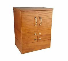 Luxury Deluxe Wood Cosmetic Box w/Mirror by Lori Greiner