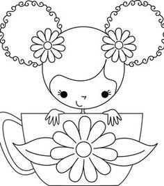color, nose ring, teacup girl, risco para, digi stamp
