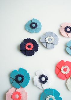 Molly's Sketchbook: AnemoneMagnets - The Purl Bee - Knitting Crochet Sewing Embroidery Crafts Patterns and Ideas!