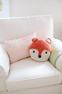 ADORABLE! Crochet Fox, Nursery, Baby Room, Pillow – Baby Nursery Room Inspiration