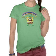 Shamrock SpongeBob Under the Rainbow Tee Shirts #stpatricksday #stpattys #stpattysday #zazzle #green #spongebob #spongebobsquarepants #rainbow #lucky #sweepstakes
