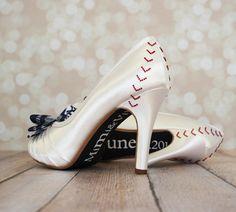Wedding Shoes Yankees Baseball Themed by DesignYourPedestal
