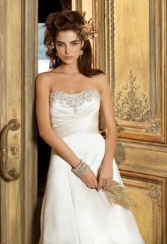 Wedding Dresses - Satin A-Line Wedding Dress with Jeweled Bodice from Camille La Vie and Group USA