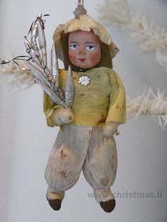 HE OLD CHRISTMAS STATION - Cotton Girl :: Japanese :: old christmas ornament :: Dresden Paper :: antique German Christmas Decorations :: Sebnitz :: Figural Glass :: Belsnickle :: Tinsel :: Christmas Rarities