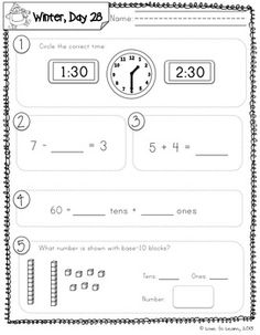 40 Days of Printable Math Review - Daily Math 3 (Winter) First Grade.