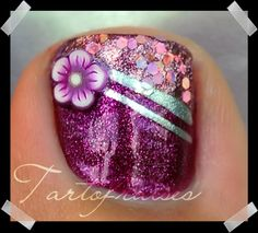 Sparkling pink toe nail.....maybe without the flower