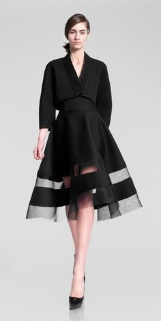Donna Karan ladylike fashion - full black peek a boo skirt