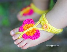 Crochet Butterfly Barefoot Baby Sandals made with Lion Brand Bonbon Yarn. Free pattern!