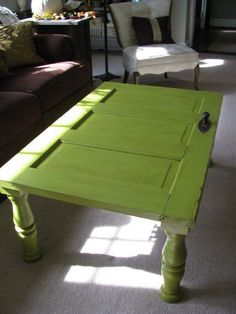door as table. love the green!