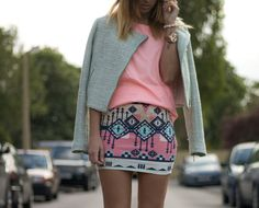 outfits, fashion, cloth, style, skirts, color, jackets, t shirts, prints