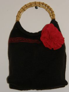 Chocolate Brown Felted Tote bag purse With a large red flower hand sewn by mcleodhandcraftgifts,