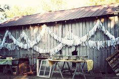 Barn and streamers #rustic #wedding (Photo by Twin Hearts Photography)