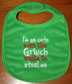Gifts for Baby:  Dr. Seuss How the Grinch Stole Christmas Bib @ Etsy