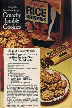 Crunchy Jumble Cookies recipe from the 1970's - with Kellogg's Rice Krispies and Nestle's Semi-Sweet Chocolate Morsels.