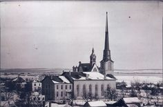 First Congregational Church in Beloit, WI, from Middle College cupola at Beloit College in 1875.