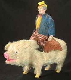 OMG - Vintage German Uncle Sam on Pig Candy Container c1910