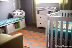 Mix of pattern in this green, teal and orange gender neutral #nursery.