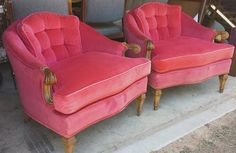 Fabulous Pair of  Hollywood Regency Mid Century Velour Pink Chairs on Etsy, $850.00