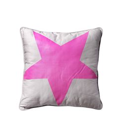 cushion with neon pink printed star from Bloomingville. www.bloomingville.com