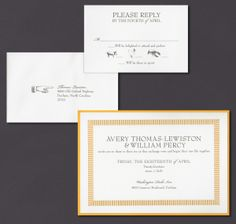 Our Saffron Chime laser cut layered invitation suite is shown here thermograph printed in charcoal ink.