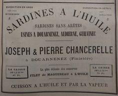 Douarnenez. Publicité Joseph et Pierre Chancerelle, sardines à l'huile, sardines sans arrêtes. 1882.