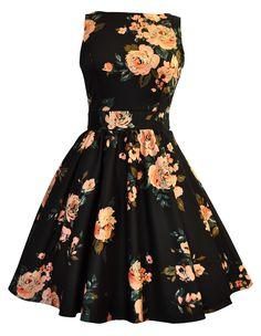 Black & Pink Rose Print Tea Dress