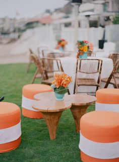 Love the bright stools for outdoor seating