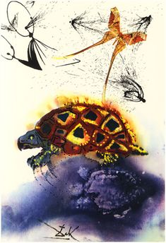 'The Mock Turtle's Story' - Alice's Adventures in Wonderland, illustrated by Salvador Dali, 1969, williambennettgallery #Illustration #Alice_in_Wonderland #Salvador_Dali #williambennettgallery