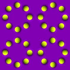 Trippy visual illusion of yellow dots that seem to move from the corner of your eyes, but not when you look directly at them.