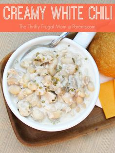 Creamy White Chili-- Brimming with chicken, Great Northern beans, sour cream and lots of seasonings, this easy to make soup is comfort food at it's best!  Pair with a crusty bread and salad and you'll have yourself a meal that satisfies!