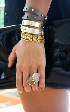 Leather wrap bracelets.