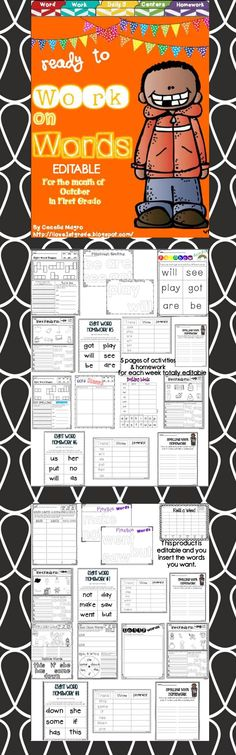 34 pages of original first grade word work activities that were carefully crafted with the first grader in mind. Modalities vary so students stay highly engaged.  VARIETY OF USES FOR DIFFERENTIATION  This pack could be used in a variety of ways - during Daily 5, Centers, or independent work. Homework for the four weeks of October are also included. You insert the sight words you want kids to work on.