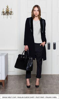 single welt coat / raglan sleeve shirt / pilot pant / italian v heel