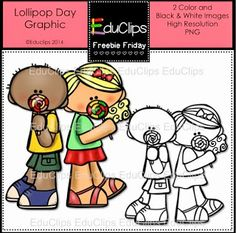 """Free Lollipop Day Clip Art Set by Educlips! ....Follow for more """"too-neat-not-to-keep"""" teaching tools & other fun FREE stuff :)"""