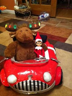 Driving Elf Style  This Elf took his trip to the North Pole in style last night! He also brought back a friend… a Christmas moose!