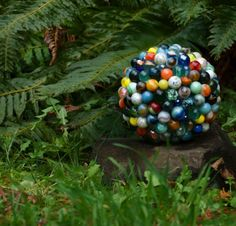 Recycled Magic 8-Ball Marble-Covered Garden Ball