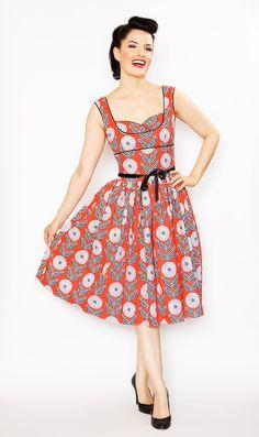 Rockabilly Girl by Bernie Dexter  Orange Lulu Chrysanthemum Swing Dress