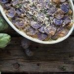 Purple Potato and artichoke gratin. Gf, SF, but not vegan.