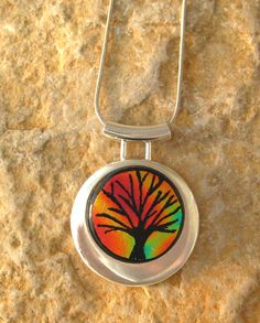 Sunset Tree of Life Hand Etched Tree of Life Pendant by GlassCat, $30.00