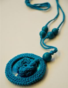 Crochet petrol necklace Pendant necklace by nihamaj on Etsy, (a favourite repin of VIP Fashion Australia www.vipfashionaustralia.com - Specialising in unique fashion, exclusive fashion, online shopping sites for clothes, online shopping of clothes, international clothing store, international clothes shop, cute dresses for cheap, trendy clothing stores, luxury purses )
