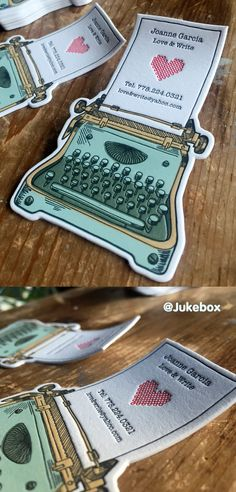 "Cute Typewriter custom shaped business card printed with Letterpress. Produced by <a class=""pintag searchlink"" data-query=""%23Jukeboxprint"" data-type=""hashtag"" href=""/search/?q=%23Jukeboxprint&rs=hashtag"" rel=""nofollow"" title=""#Jukeboxprint search Pinterest"">#Jukeboxprint</a>"