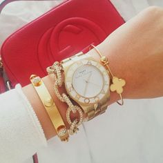 woman fashion, arm party, fashion chic, fashion styles, marc jacobs, wrist candy, gold accessories, arm candies, gold arm