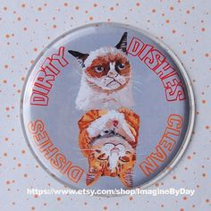 Grumpy cat dirty/clean dishes dishwasher kitchen by ImagineByDay, $5.00