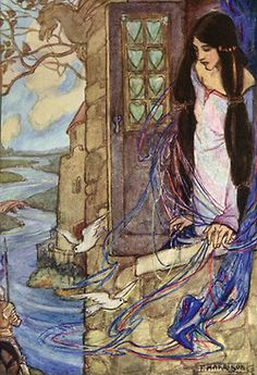 The Lady of Shallot  By Emma Florence Harrison (1877–1955), English Art Nouveau and Pre-Raphaelite artist