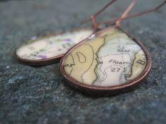 Nautical Charts of Alaska earrings by natureofart on Etsy