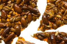 Honey-Nut Brittle  A blend of almonds, sunflower seeds, and pumpkin seeds incorporated into sweet honey candy.