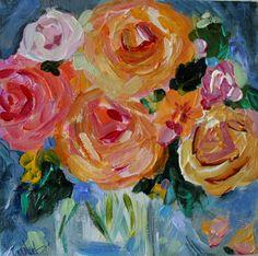"""elise"" floral 8"" x 8"" acrylic on canvas by Carolyn Shultz/Blue Poppy Design SOLD"