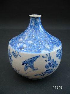 19th Century Edo Period Arita Imari Blue White Chidori Amongst Foliage Vase |