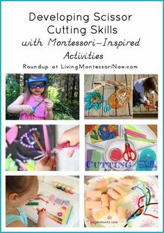 Scissor skills information plus creative ideas for using a variety of materials to prepare Montessori-inspired scissor cutting activities