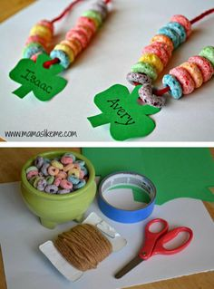 Shamrock Rainbow Necklaces *What a great opportunity for practicing math: patterns, counting, etc.